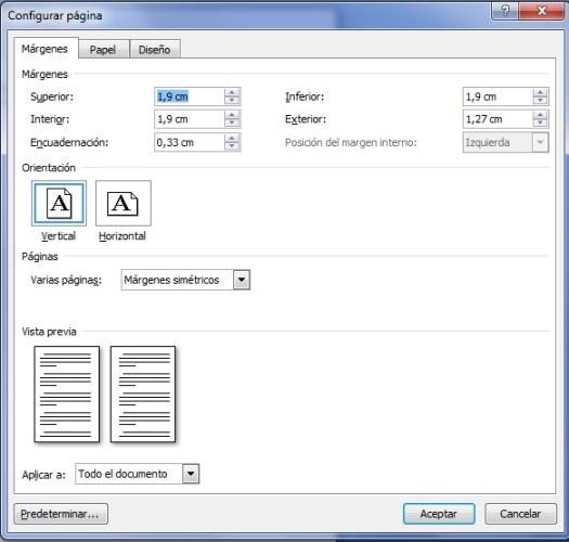 Configuración página Word plantilla