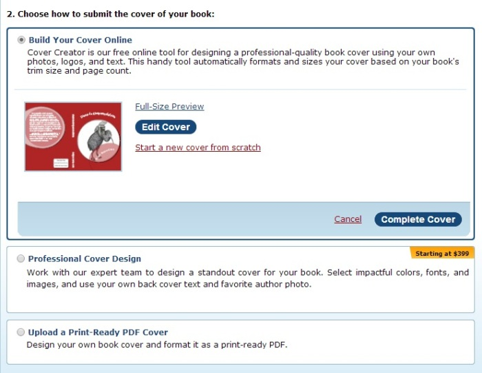 Choose how to submit the cover of your book