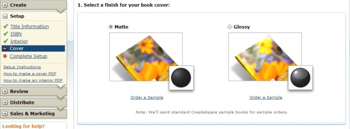 Select a finish for your cover