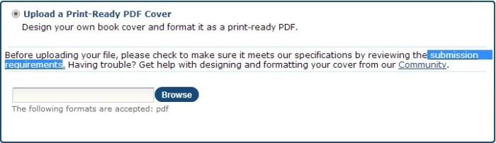 Upload a Print-Ready PDF Cover