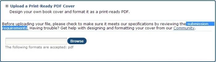 Upload a Print-Ready PDF Cover