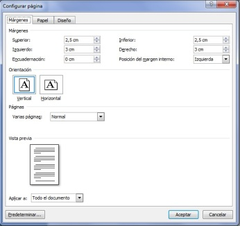 Configurar página Word Márgenes