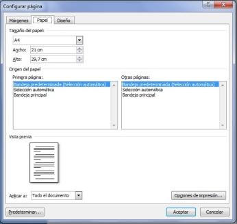 Configurar página Word papel