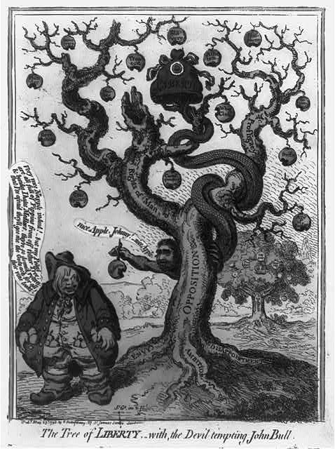 The tree of liberty,-with, the devil tempting John Bull, de British Cartoon Prints Collection