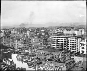 Panoramic view of downtown Los Angeles showing Pershing Square, ca.1910